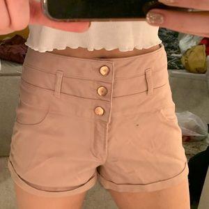 blush high waisted gold button shorts
